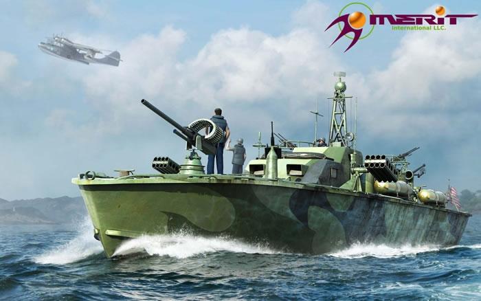 Byggmodell krigsfarty - U.S. Navy Elco 80' Torpedo Boat Late Type - 1:48 - Merit