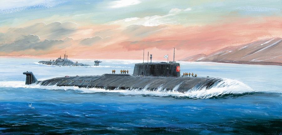 Byggmodell ubåt - Nuclearn Submarine APL Kursk - 1:350