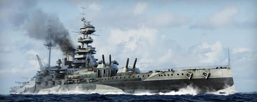 Byggmodell krigsfartyg - HMS Malaya 1943 - 1:700 - TT