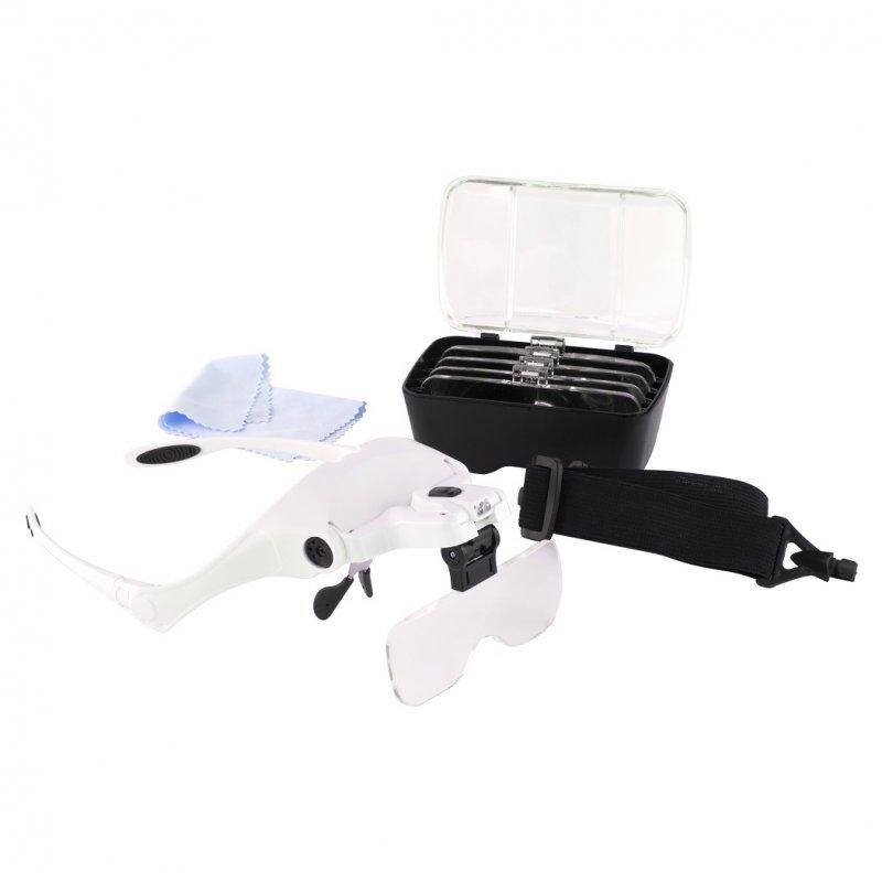 Byggmodell verktyg - Magnifier Glasses w Headband LED, 5 Lenses - MC