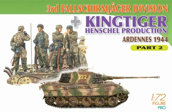 Byggmodell - 4 Figures Set with Kingtiger Henschel Turret Tank Scene 2 - 1:72 - Dr