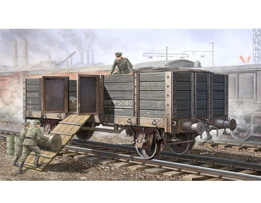 Byggmodell Järnvägsvagn - German Railway Gondola med höga sidor - 1:35 - Tr