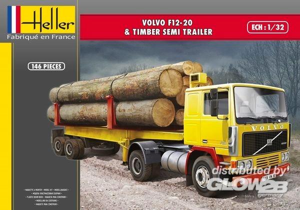 Byggmodell lastbil - Volvo F12-20 och Timber Semi Trailer - 1:32 - Heller