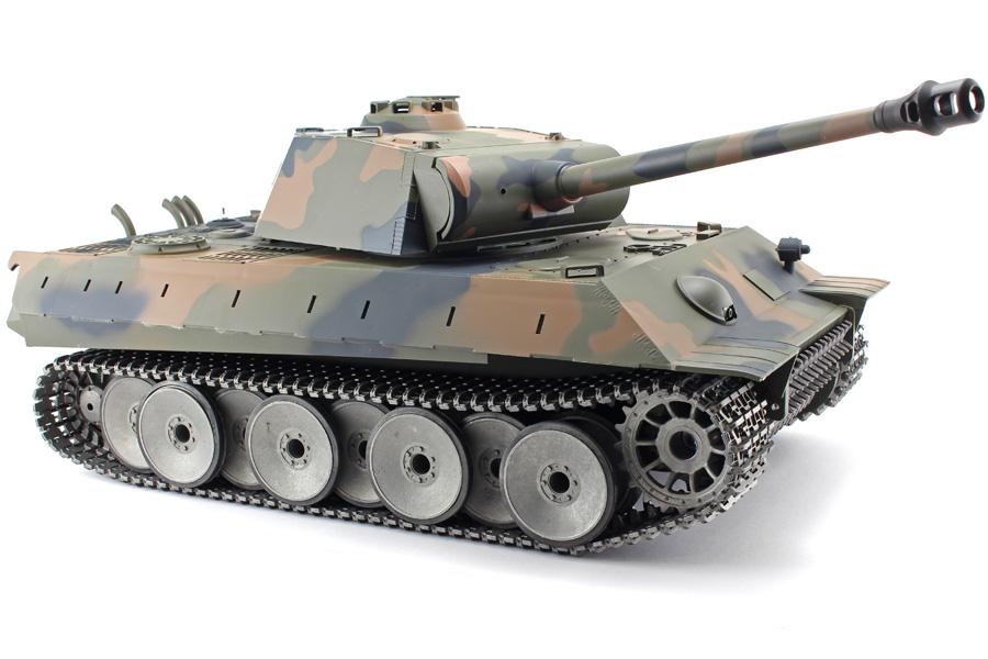 Radiostyrd stridsvagn - 1:16 - PanterTank V6 METALL Upg. - 2,4Ghz - s.airg. rök & ljud - RTR
