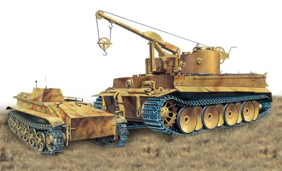 Byggmodell stridsvagn - Bergepanzer Tiger I, s.Pz.Abt.508 IV Ausf.A - 1:35 - Dragon
