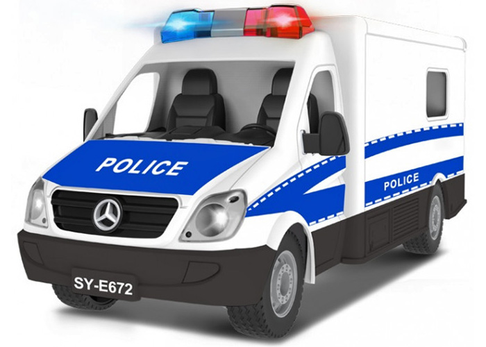 Radiostyrd Polisbuss - 1:18 - 2,4Ghz - RTR