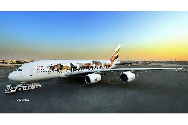 "Byggmodell flypglan - Airbus A380-800 Emirates ""Wild Life"" - 1:144 - Revell"