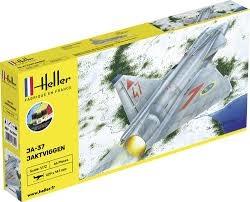 Byggmodell flygplan - SAAB JA-37 Jaktviggen COMPLETE w. Glue, Paint,Brush - 1:72 - Heller