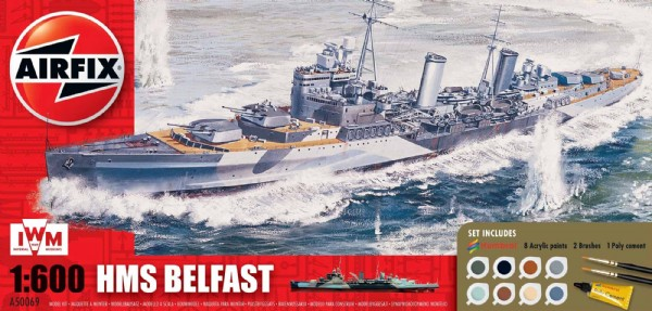 Byggmodell stridsfartyg - HMS Belfast Gift Set 1:600 AirFix