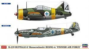 "Byggmodell flygplan - Buffalo-239 Bf109G-6 ""Finnish Airforce 1:72 Hasegawa"