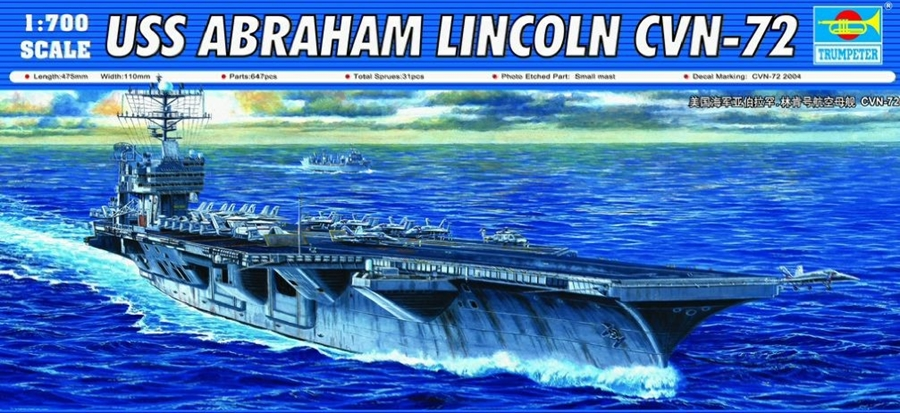 Byggmodell krigsfartyg - USS Abraham Lincoln CVN-72 - 1:700 - Trumpeter