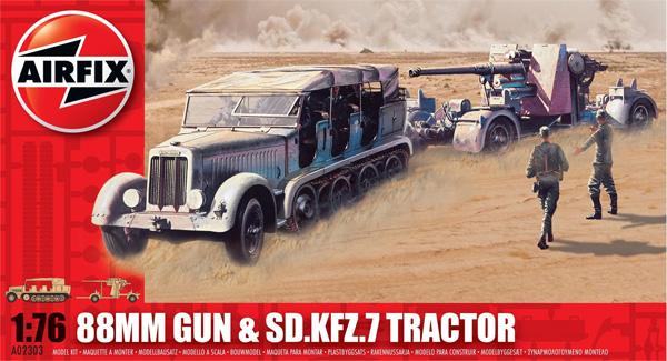 Byggmodell stridsfordon - 88mm Gun och SD.KFZ.7 traktor - 1:76 - Airfix