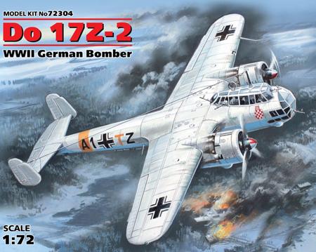 Byggmodell flygplan - Do 17Z-2, WWII German Bomber - 1:72 - ICM
