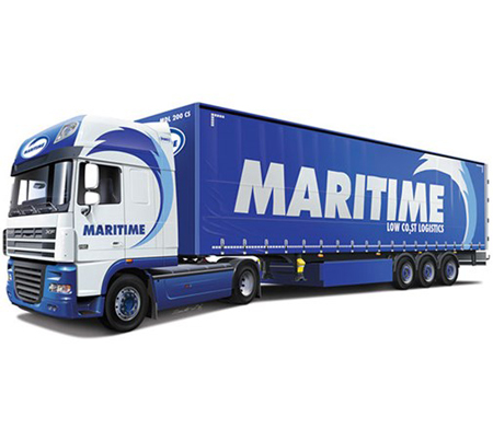 Byggmodell lastbil - DAF XF105 with MARITIME Trailer - 1:24 - IT