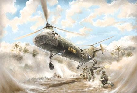 Byggmodell helikopter - H-21C Shawnee Flying Banana - 1:48 - IT