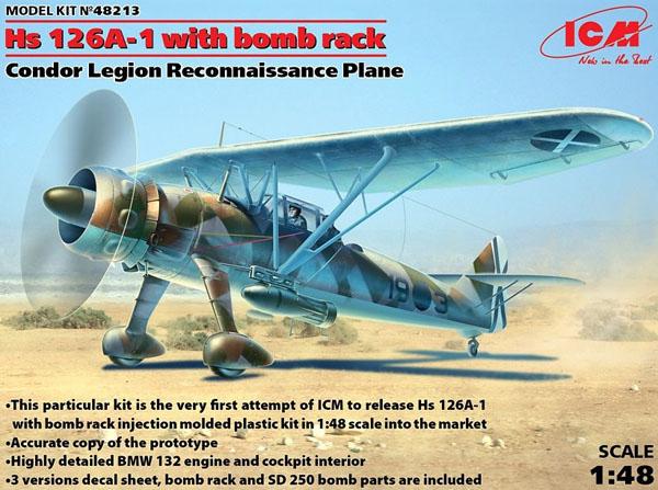 Byggmodell flygplan - Hs 126A-1 w bomb rack, Condor Legion Reconnaissance - 1:48 - ICM