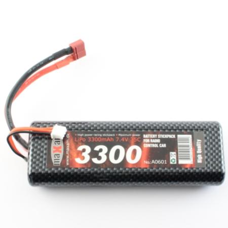 Batteripack Li-PO - Batteri 7,4V 3300mAh - 35C - T-kontakt - MaXam