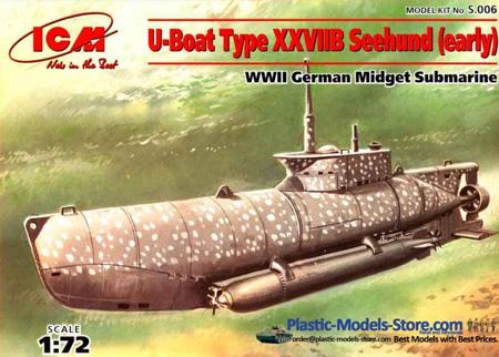 Byggsats Ubåt - XXVIIB Seehund (early), midget submarine - 1:72 - ICM