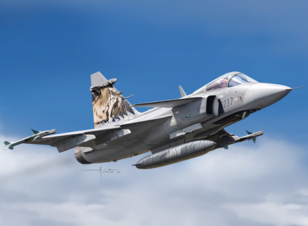 Modellflygplan - Jas-39 Gripen (decals: se, rsa, cz, hu ) - 1:72 - Italeri