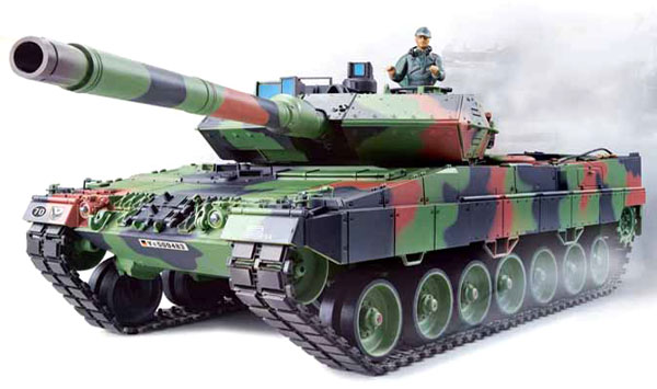 Radiostyrd stridsvagn - 1:16 - Leopard 2 A6 METALL Upg. - 2,4Ghz - s.airg. rök & ljud - RTR