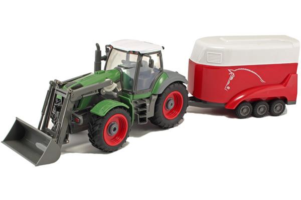 Radiostyrd Traktor - 1:28 Traktor, Skopa o Hästsläp - Grön/röd - RTR