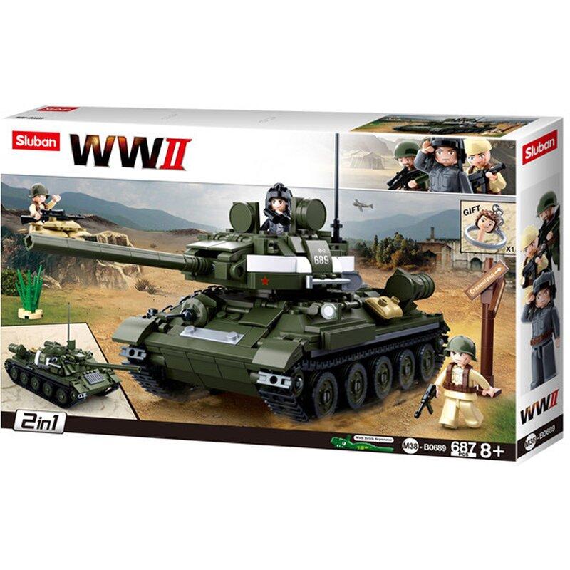 WWII - 2in1 Russischer Panzer / Jagdpanzer - B0689 - Sluban
