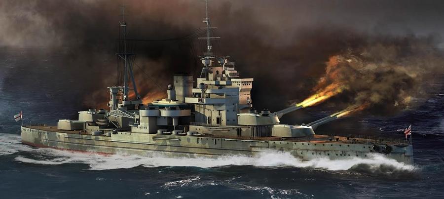 Byggmodell krigsfartyg - HMS Queen Elizabeth 1941 - 1:700