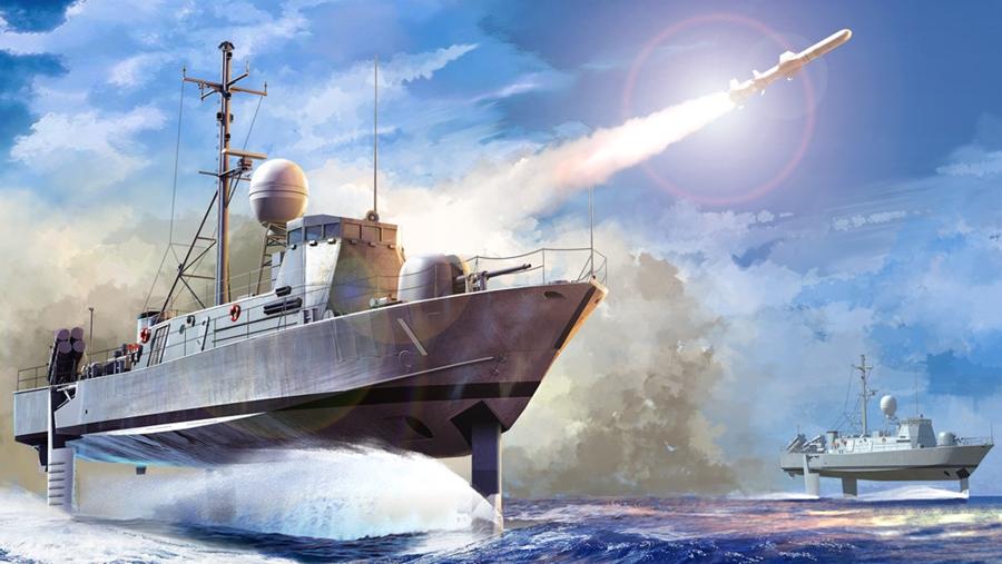 Byggmodell krigsfartyg - USS Pegasus PHM-1 - 1:200