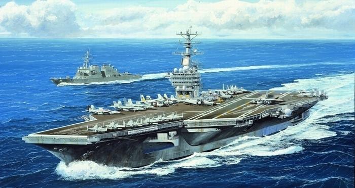 Byggmodell krigsfartyg - USS Nimitz Cvn-68 2005 - 1:700