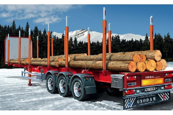 Byggmodell lastbilssläp - TIMBER TRAILER - 1:24 - IT