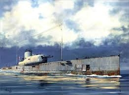 Byggmodell ubåt - French Surcouf Submarine Cruiser - 1:350