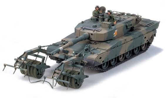 Byggmodell stridsvagn - TYPE 90 TANK - MINE ROLLER - 1:35 - Tamiya