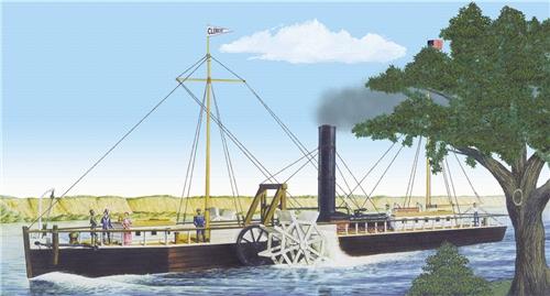 Byggmodell båt - Fultons Clermont Paddle Wheel Steamship - 1:96 - LB