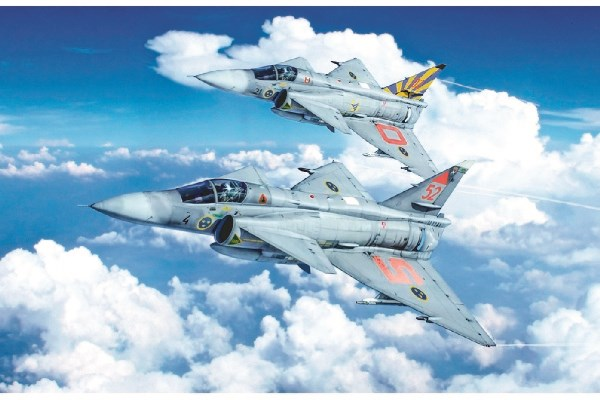 Byggmodell flygplan - SAAB JA37 JAKTVIGGEN - Decal SE - 1:48 - IT