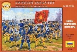 Byggmodell gubbar - Svenska Karoliner infanteri - 1:72 - Zv