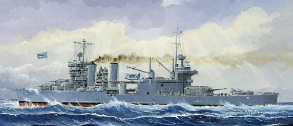 Byggmodell krigsfartyg - USS Minneapolis CA-36 1942 - 1:700 - Tr