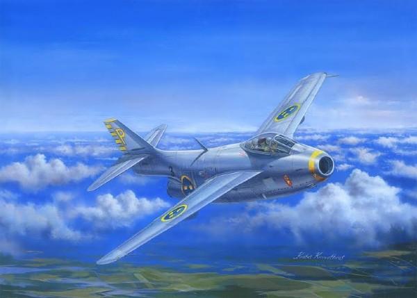 Byggmodell flygplan - J29B Flygande Tunnan (decal SE) - 1:48 - Hobbyboss