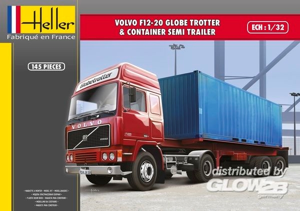 Byggmodell lastbil med släp - VOLVO F12-20 Globetrotter - 1:32 - Heller