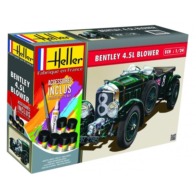 Byggmodell bil - Bentley 4,5 L Blower - med lim pensel och färg - 1:24 - Heller