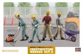 CONSTRUCTION WORKER SET A - 1:35 - Hasegawa