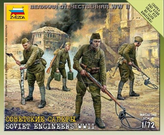 Byggmodell - Soviet Engineers (8 fig. Eq.)NO GLUE - 1:72 - Zvezda