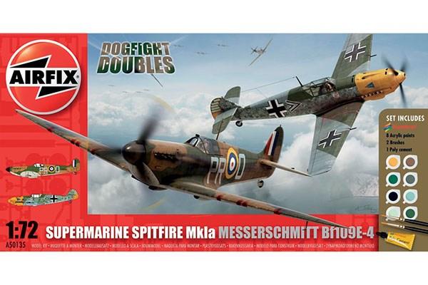 Byggmodell flygplan - Supermarine Spitfire Mk1a Messerschmitt BF109E-4 - 1:72 - AirFix