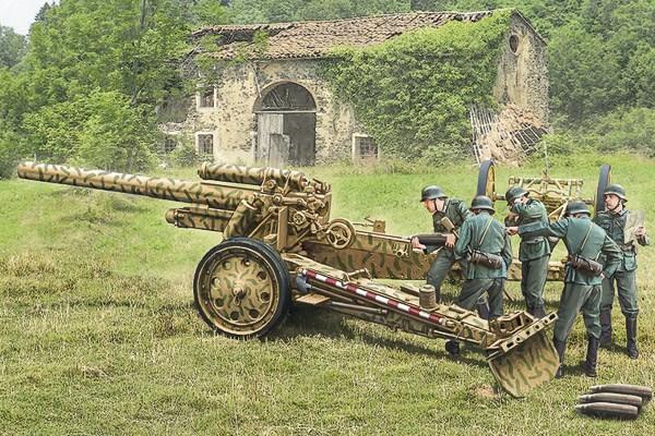 Byggmodell stridsfordon - 15 cm Field Howitzer / 10,5 cm Field Gun - 1:72 - Italieri