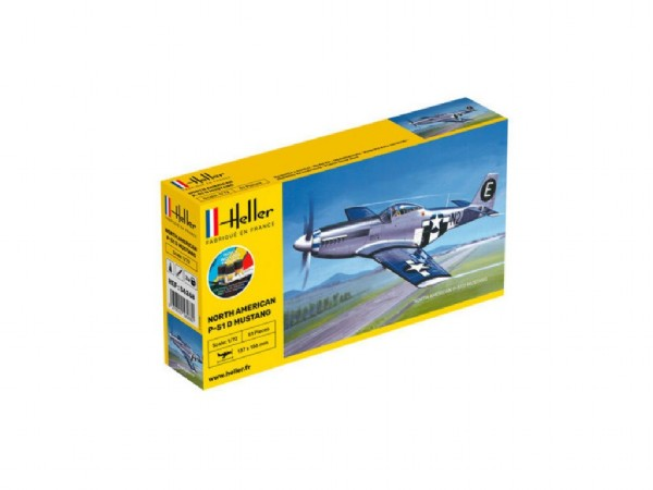 Byggmodell flygplan - P-51D Mustang w. SE decal COMPLETE w. Glue, Paint,Brush - 1:72 Heller