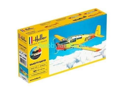 Byggmodell flygplan - SAAB Safir COMPLETE w. Glue, Paint,Brush - 1:72 - Heller