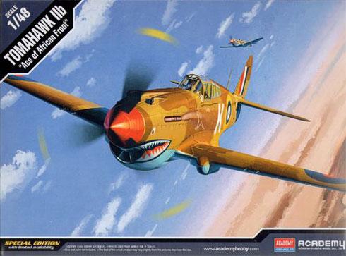 Byggmodell flygplan - P-40C TOMAHAWK IIB RAF AFRICAN FRONT - 1:48 - Academy