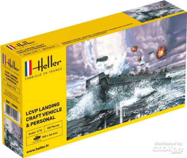 Byggmodell krigsfartyg - LCVP Landing Craft incl. crew - 1:72 - Heller