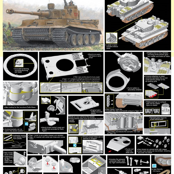 "Byggmodell stridsvagn - Tiger I ""131"" S.Pz.Abt.504 Tunisia - 1:35 - Dragon"