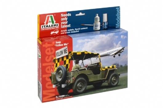 Byggmodell bil - Willys Jeep Complete w Glue, Paint,Brush - 1:35 - Italieri
