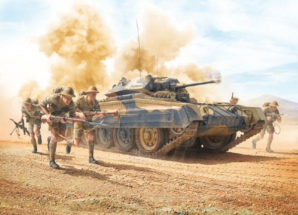 Byggmodell stridsvagn - CRUSADER Mk.I w/N.A.Infantry - 1:35 - Italieri